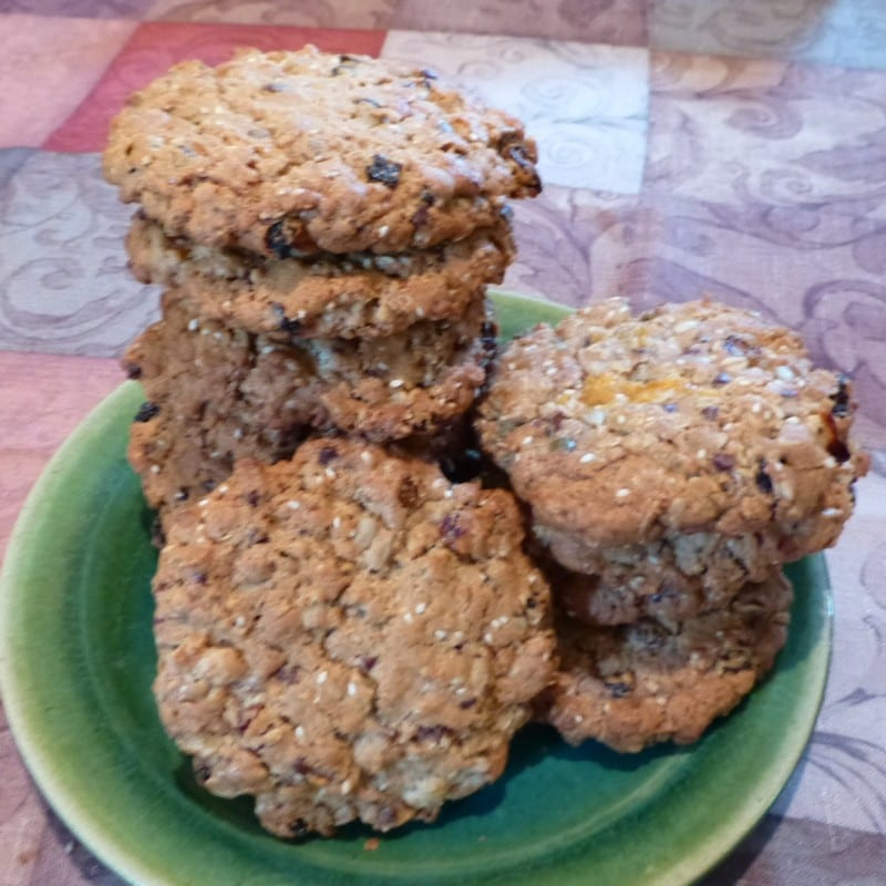 Oatmeal cookies with chocolate chunks, pecans, and cherries