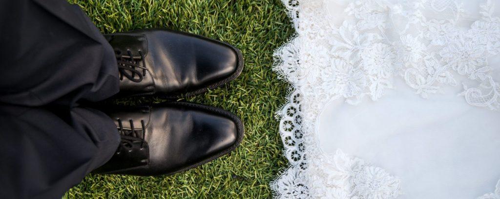 bride and groom's feet